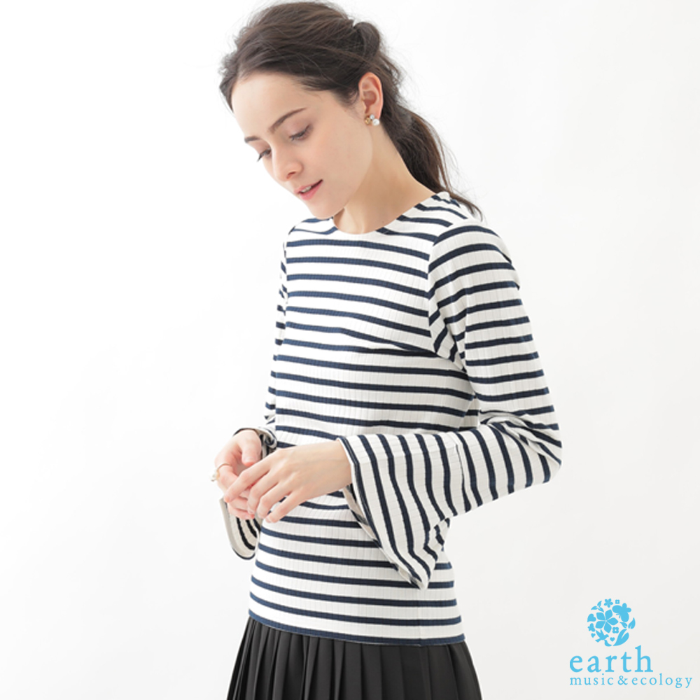 earth music 基本款喇叭袖針織上衣