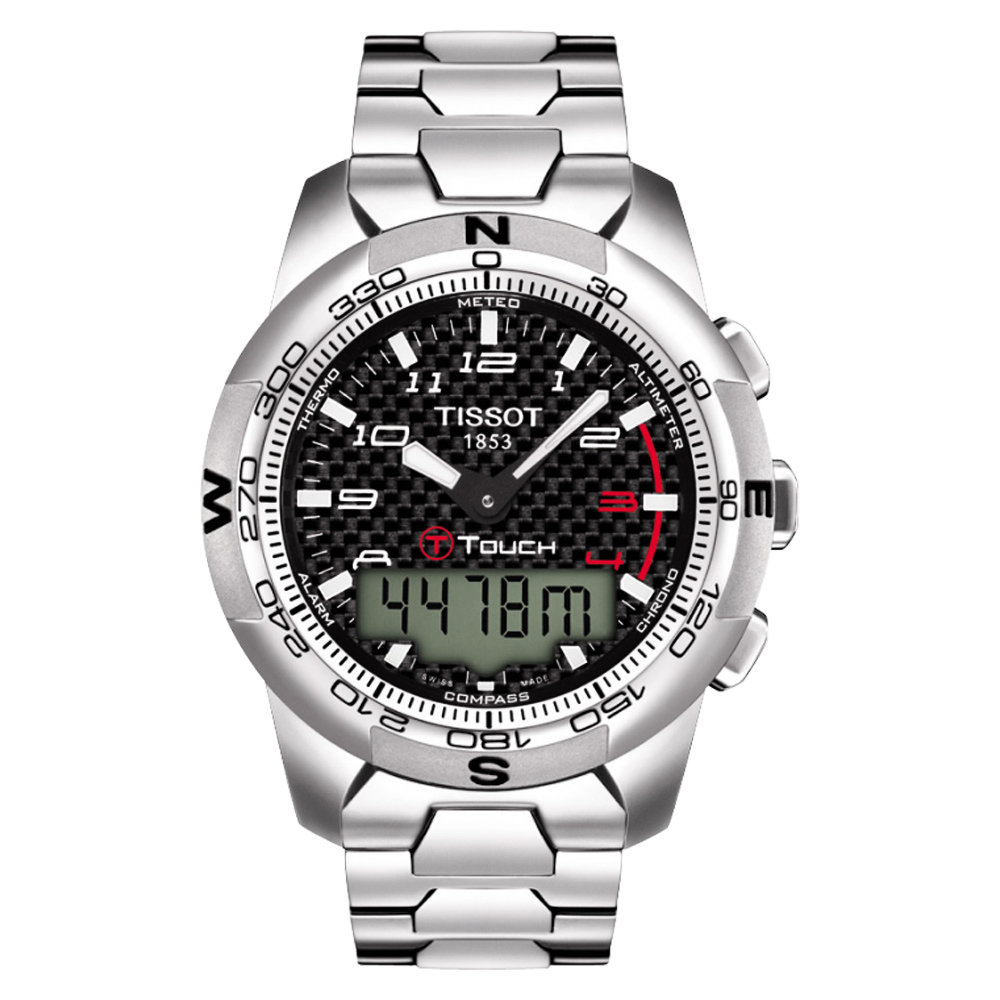 TISSOT天梭 T-TOUCH II 鈦觸控錶-黑x銀/43mm