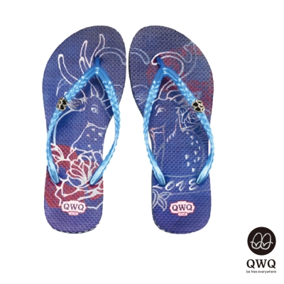 QWQ夾拖的創意(女)-Dear Deer側鑽夾腳拖-藍