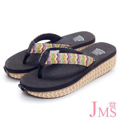 JMS-超舒適彩色編織帶夾腳海灘鞋(低跟款)-黑色