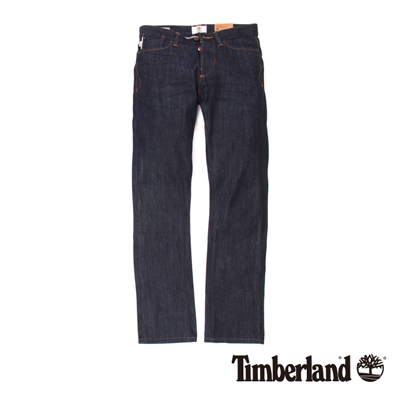 Timberland-男款深藍色反摺布邊牛仔長褲