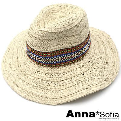 AnnaSofia 印地安織帶 寬簷紳士帽爵士帽草帽(米杏系)