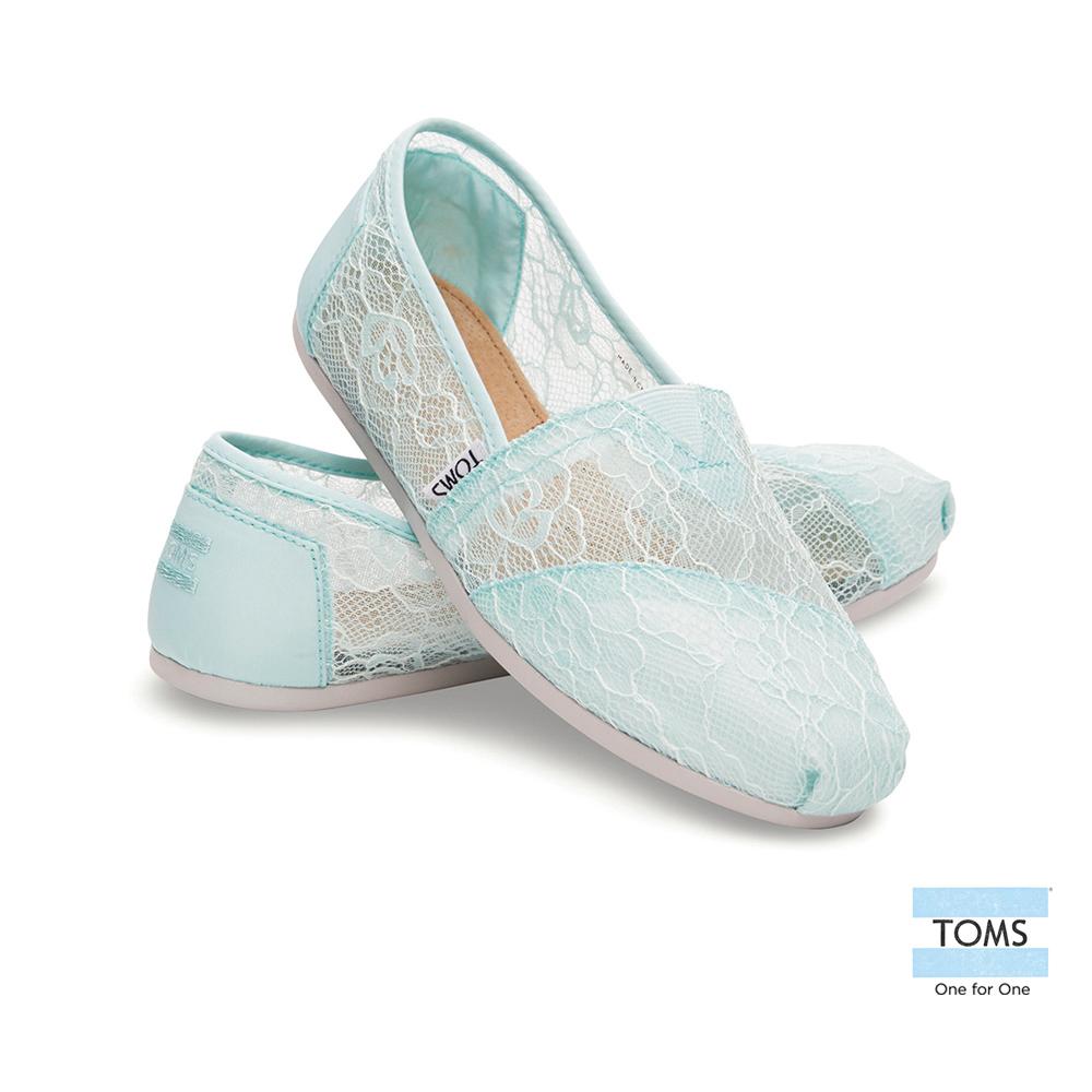 TOMS 經典雕花蕾絲懶人鞋-女款(蒂芬妮綠)