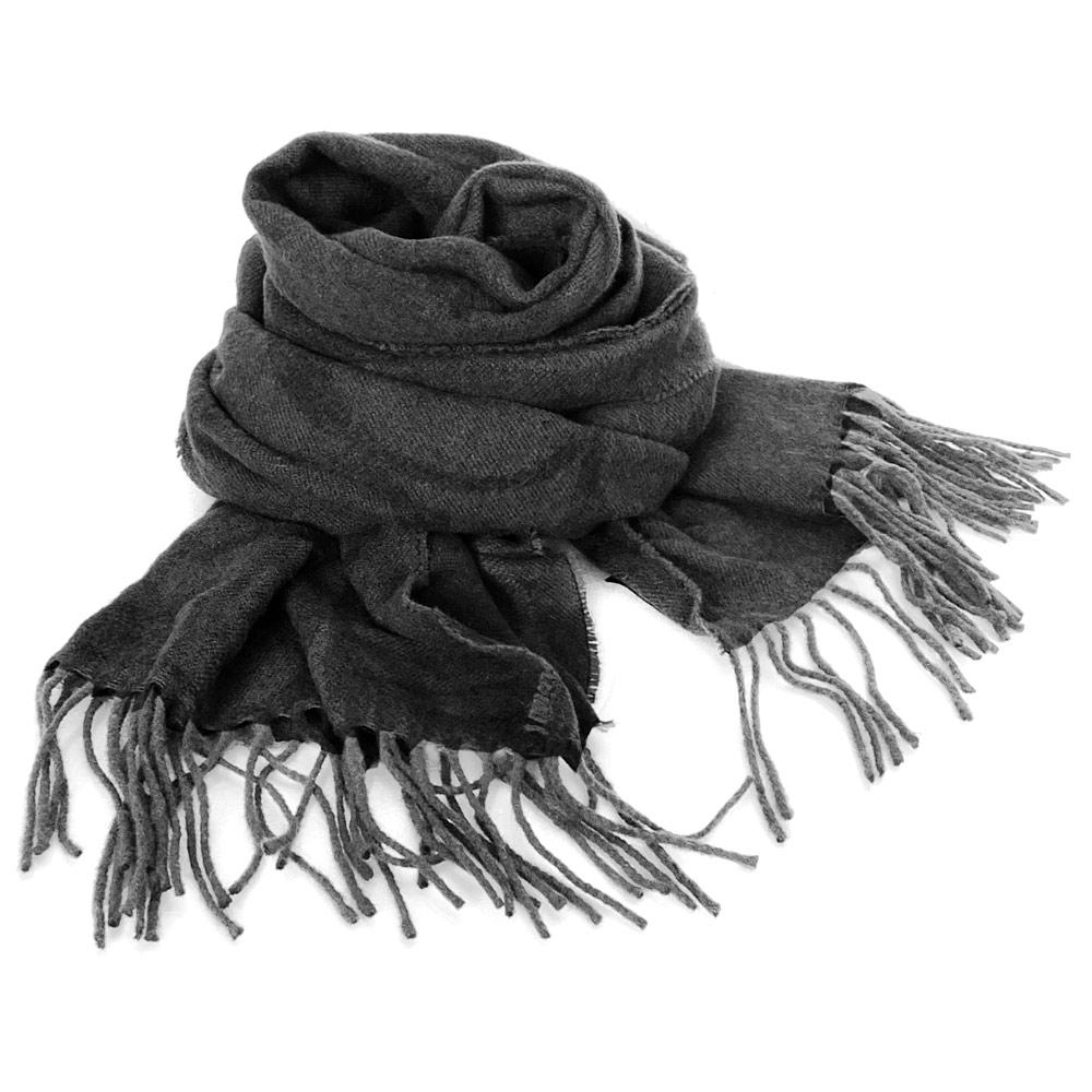COACH黑灰大C Logo羊毛混兔毛絲絨保暖長圍巾COACH