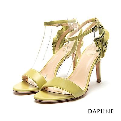 達芙妮DAPHNE 涼鞋-荷葉邊飾片一字高跟涼鞋-綠