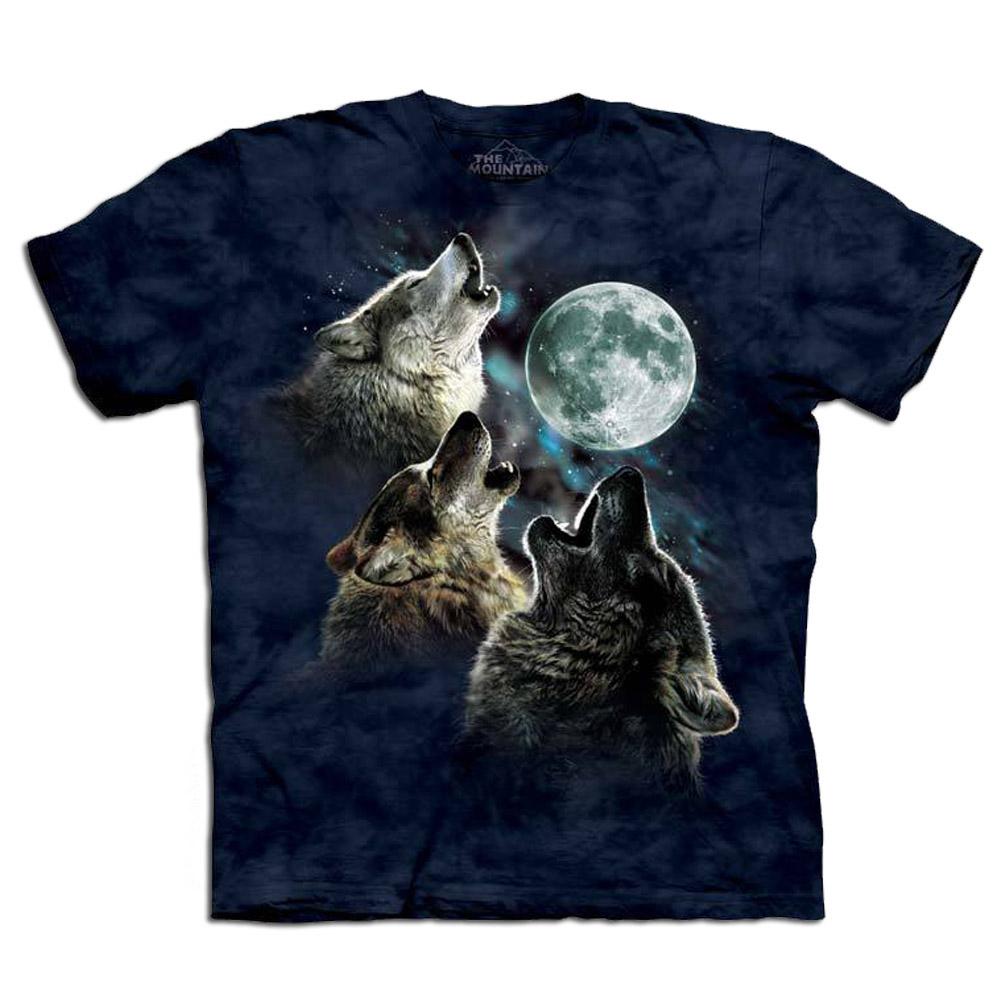摩達客-美國進口The Mountain 藍三狼嚎月 純棉環保短袖T恤