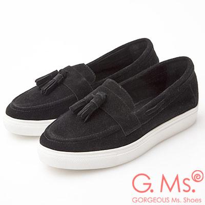 G.Ms. 牛麂皮流蘇莫卡辛厚底鞋-黑色
