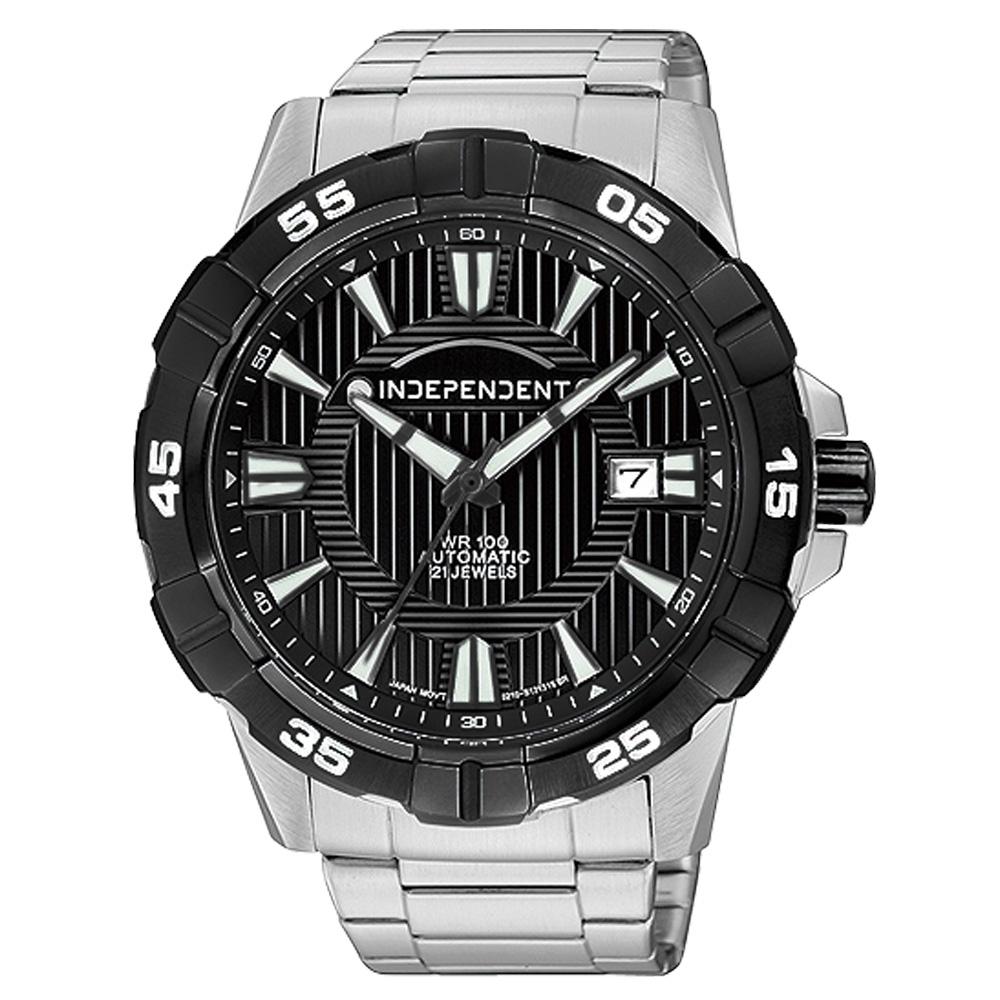 INDEPENDENT 現代武士風格日期機械腕錶-黑/43mm
