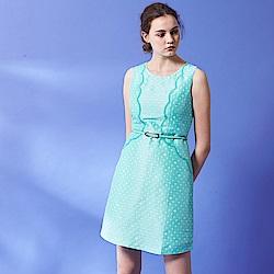 Chaber巧帛 復古氣質波點提花無袖顯瘦連身造型禮服洋裝(兩色)-綠