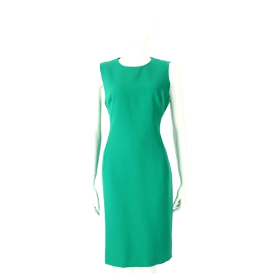 VERSACE 翡翠綠素面修身剪裁無袖洋裝