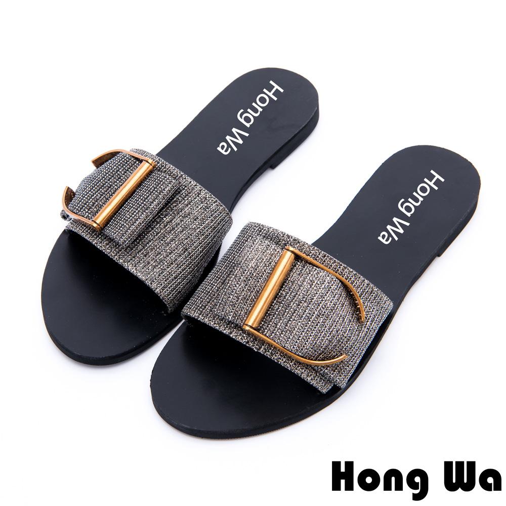 Hong Wa-時尚金屬英文字釦派對涼拖鞋-金