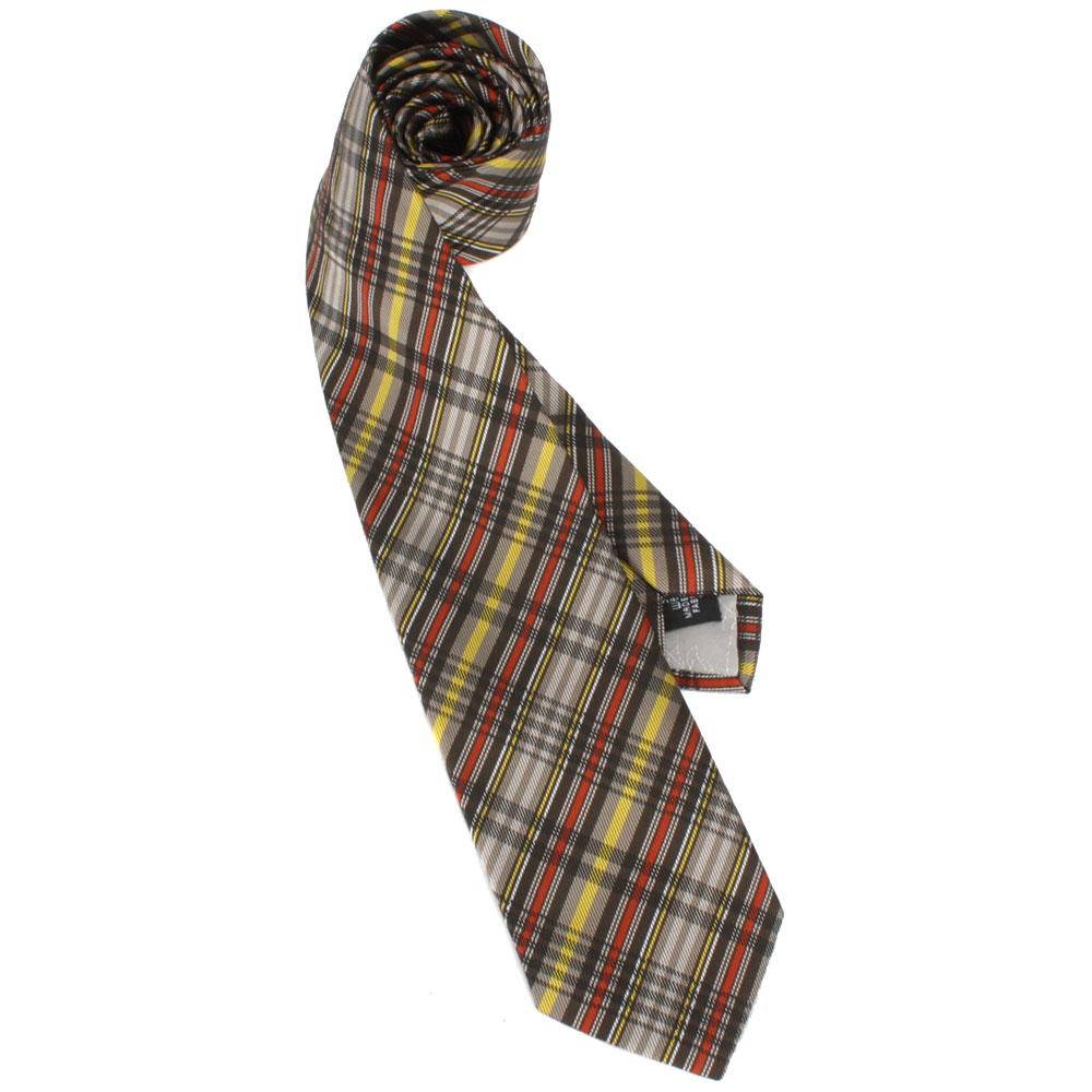 Vivienne Westwood 細線斜格紋絲質領帶-黃/咖啡