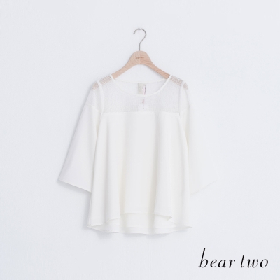 beartwo-網紗拼接雪紡波浪寬袖上衣-二色