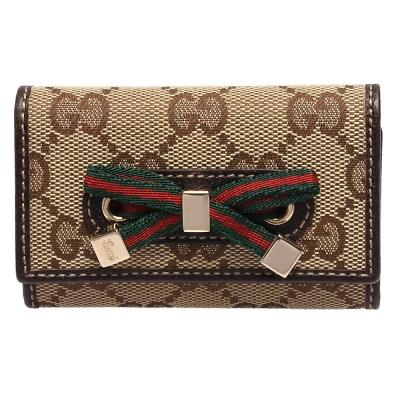 GUCCI 經典GG緹花布綠紅綠織帶蝴蝶結造型釦式鑰匙包(咖啡)