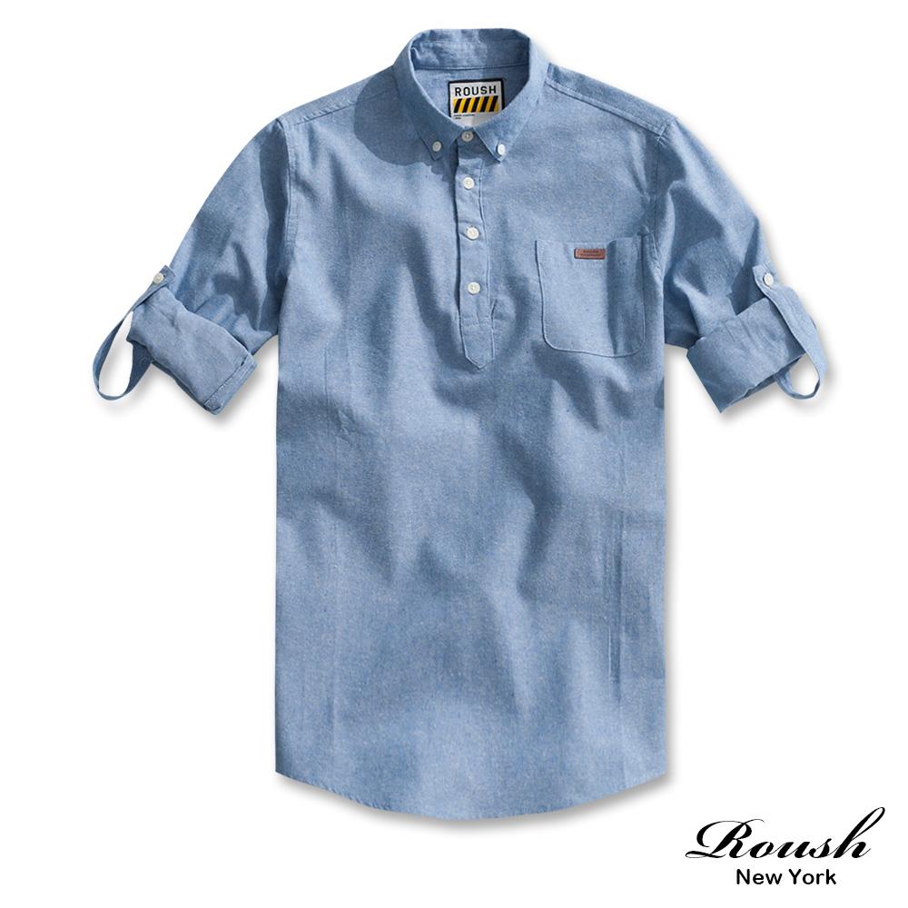 ROUSH 半開式牛津布素面襯衫 (3色)