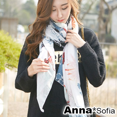 AnnaSofia 葉蝶染印 拷克邊韓國棉圍巾披肩(紅灰系)