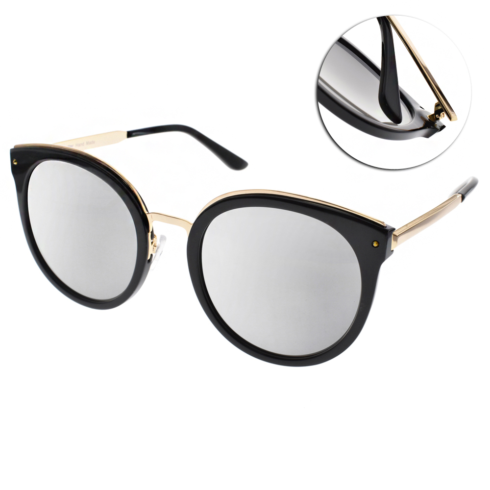 Go-Getter太陽眼鏡 貓眼圓框/黑金-白水銀#GS1711 BKSM