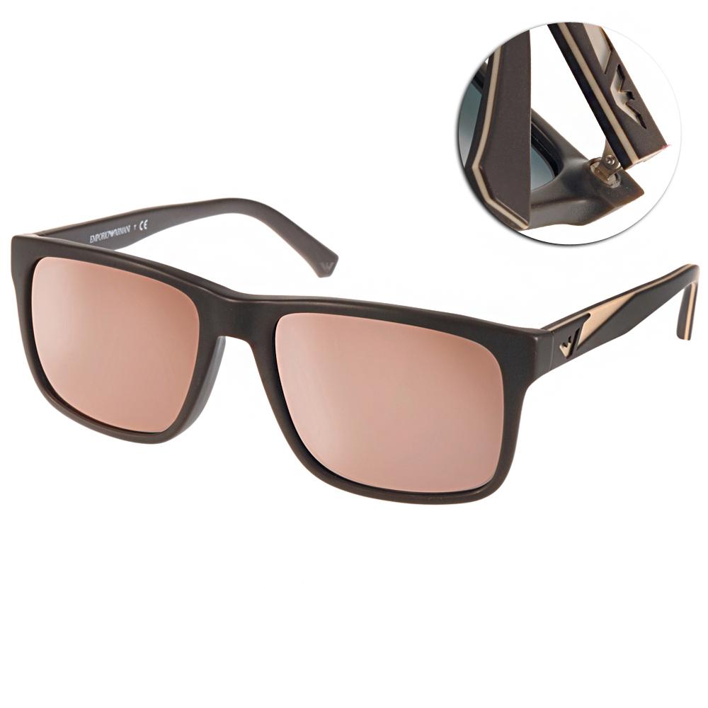 EMPORIO ARMANI太陽眼鏡 經典時尚/咖啡-水銀粉#EA4071F 55094Z