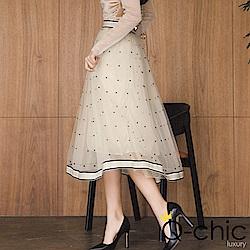 正韓 束腰點點層次紗質長裙 (共二色)-Q-chic