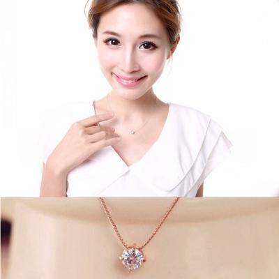 梨花HaNA-韓國925銀風尚簡約單顆美鑽鎖骨鍊項鍊玫瑰金