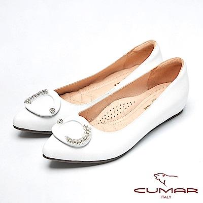 CUMAR心機美人-水鑽裝飾隱藏增高鞋-白色