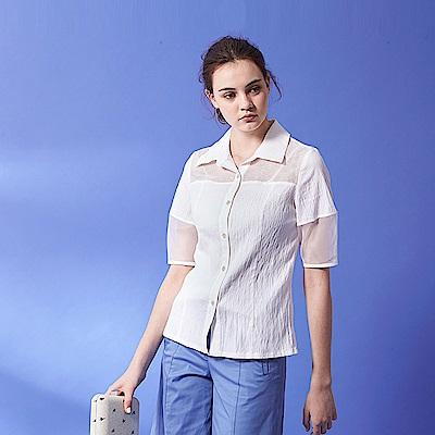ICHE 衣哲 設計款拼接透視紡紗五分袖造型襯衫上衣-白