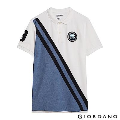 GIORDANO 男裝拿破崙刺繡徽章彈力棉POLO衫-16 標誌白/花紗藍