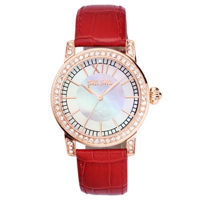 Folli Follie 熱情風采晶鑽時尚腕錶-白x玫瑰金框x紅錶帶/26mm)