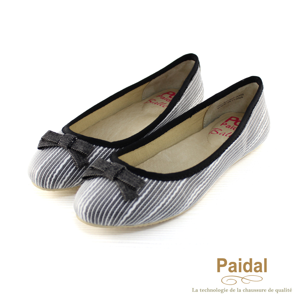 Paidal 優雅立體蕾絲紋娃娃鞋/包鞋-黑