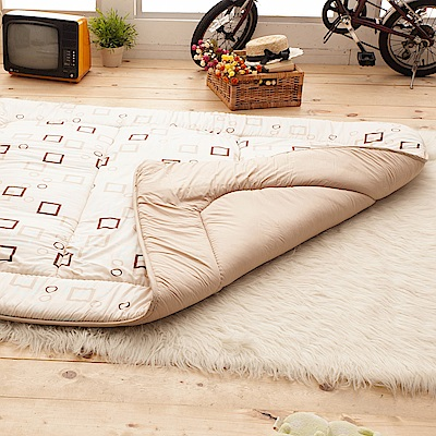 舒適羊毛包邊和風5CM床墊-方格米-雙人