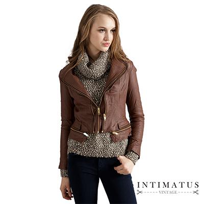 【真皮皮衣】獨特雙層蝶翼領型小羊皮皮衣-焦糖色INTIMATUS