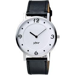 STAR 藝術時尚簡約風情女錶-白x黑色錶帶/34mm