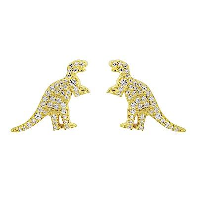 apm MONACO法國精品珠寶 閃耀亮鑽金色恐龍造型耳針式耳環