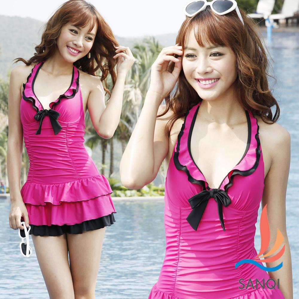 SANQI三奇 亮彩情懷 一件式連身泳衣(桃M~XL)