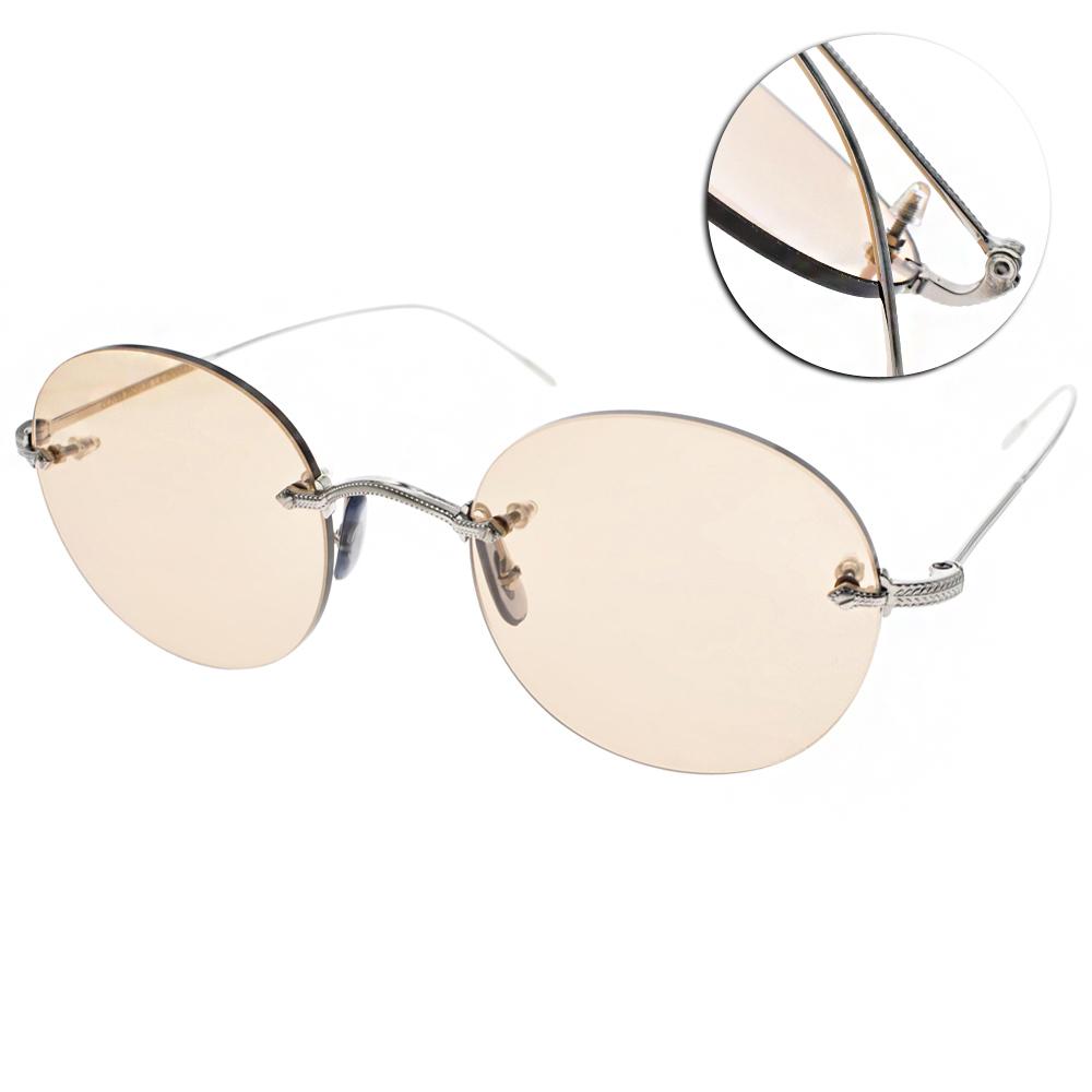OLIVER PEOPLES太陽眼鏡 羽毛雕刻無框款/銀-黃鏡片#KEIL 5063
