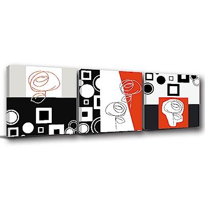 美學365-三聯式方型 掛畫無框畫 玫瑰美人 40x40cm