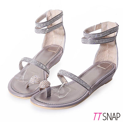 TTSNAP楔型涼鞋-MIT真皮水鑽指環繞踝平底涼鞋 錫
