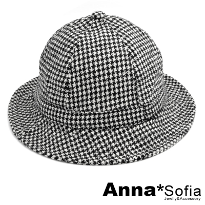 AnnaSofia-復古千鳥紋-漁夫軟帽-黑系