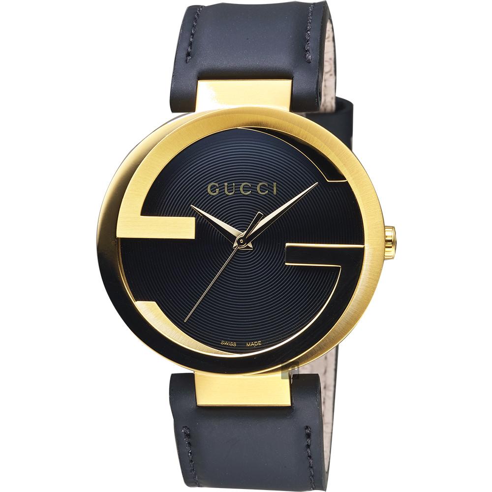 GUCCI 古馳 Interlocking 時尚元素女錶-黑x金框x黑/37mm