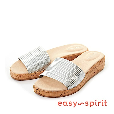 Easy Spirit--金屬感彈性細帶軟木塞厚底涼拖鞋-迷人銀
