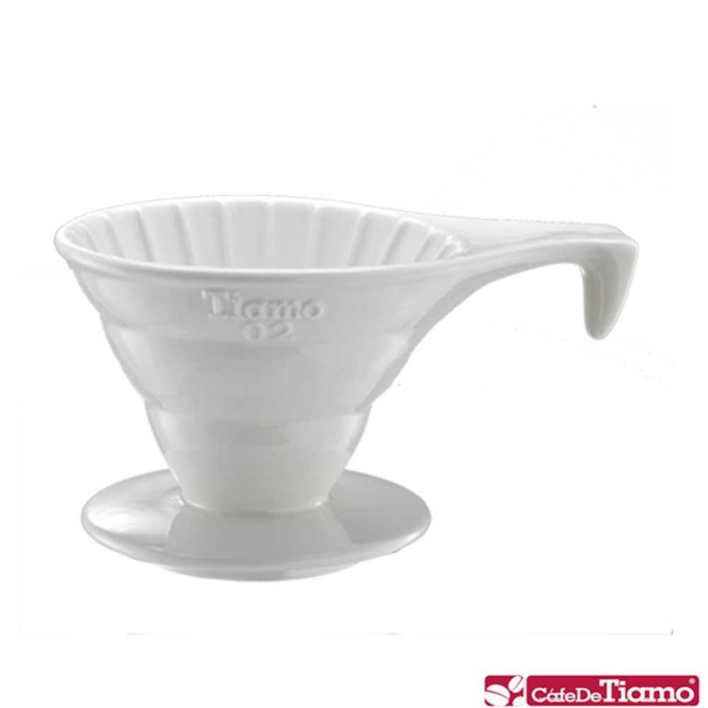 Tiamo V02長柄陶瓷咖啡濾杯組-白色(HG5534W)