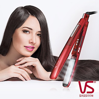 VS沙宣38毫米晶漾魔力紅鈦金蒸氣直髮棒VSS-9500W
