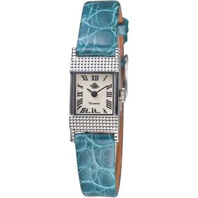 Rosemont 玫瑰錶 骨董風玫瑰系列優雅淑女錶-白x藍/23x16mm