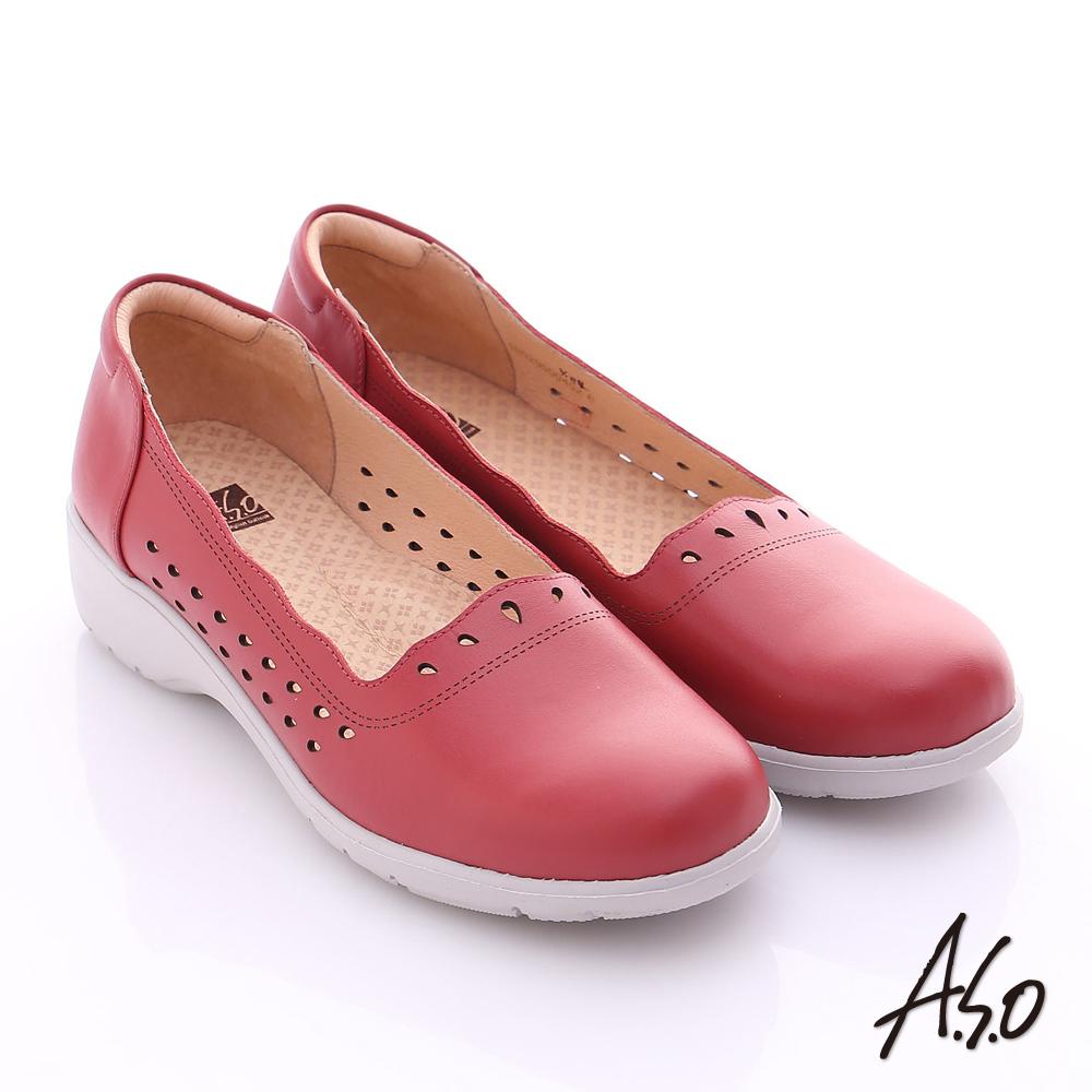 A.S.O 3E健康鞋 真皮水滴雕花寬楦奈米休閒鞋 紅色