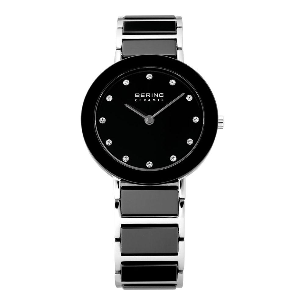 BERING 丹麥精品手錶 晶鑽刻度陶瓷錶系列 藍寶石鏡面 黑銀29mm