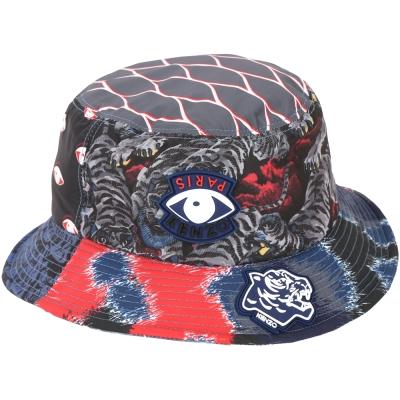 KENZO Multi Logo 圖騰印花尼龍漁夫帽(黑藍紅)