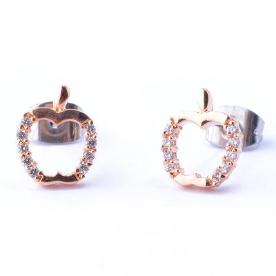 ~山本美樹~亞森羅蘋 鏤空蘋果 奧地利水晶針式耳環 共二色
