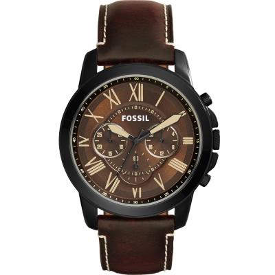 FOSSIL Grant經典復刻計時腕錶-咖啡/44mm
