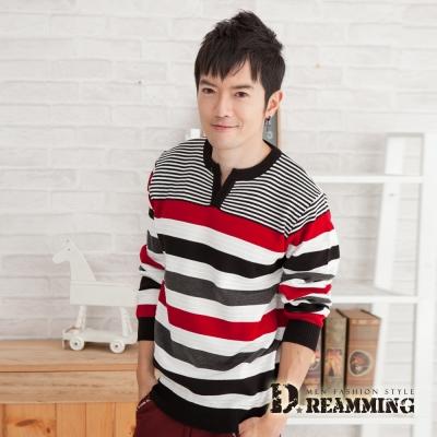 Dreamming 時尚撞色條紋開襟V領針織毛線衫-共二色