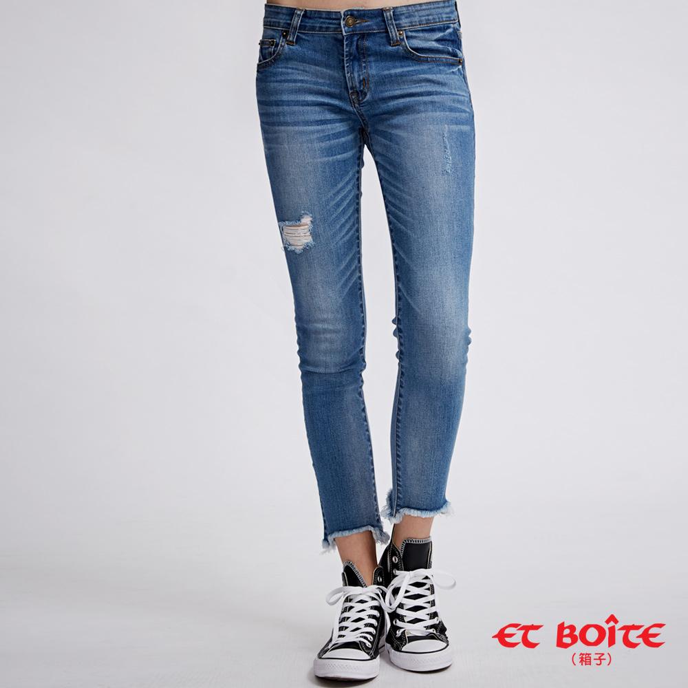 ETBOITE 箱子 BLUE WAY 全方位美型計畫 - 褲口鬚邊刷破八分丹寧褲